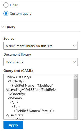 Custom query settings