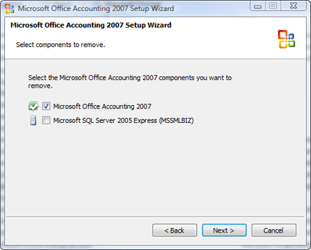 Uninstall Accounting 2007