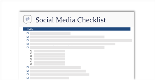 conceptual image of a social media checklist