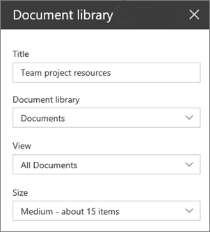 Document library web part settings