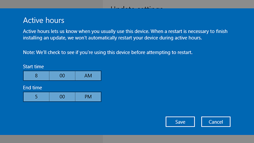 Screenshot of dialog window for changing active hours