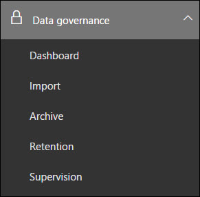 Left-navigation for the Data Governance section in the Security & Compliance Center