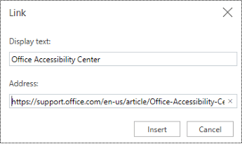 Hyperlink dialog in PowerPoint Online.