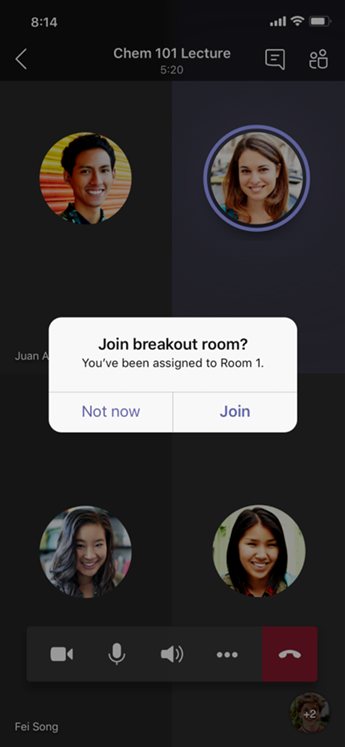 Join Breakout Room dialog on mobile.