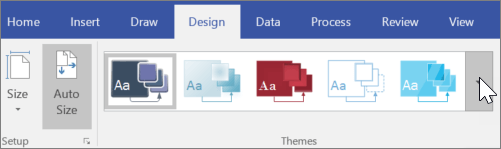 Screenshot of the Design > Themes toolbar options