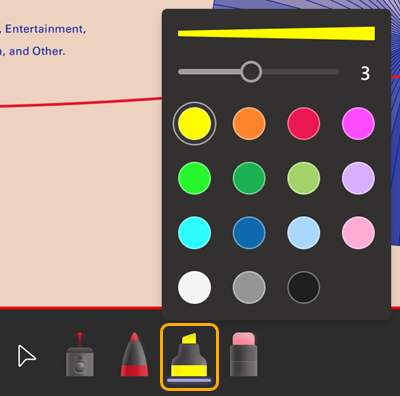 Highlighter tool is fourth one after 3 dots