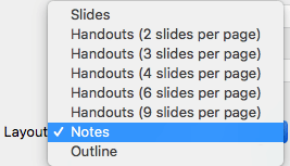 Select the Notes layout in the Print dialog box