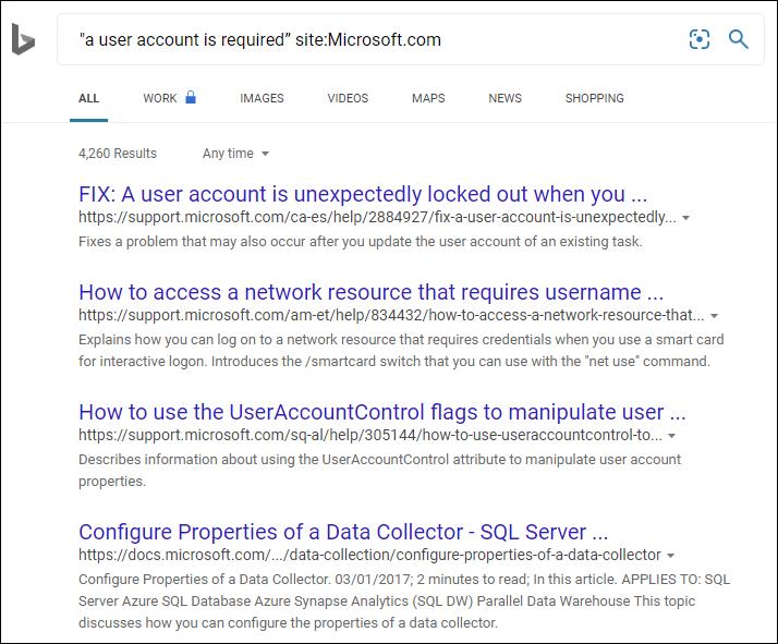 Microsoft search results