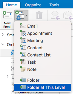 Add or remove a folder in Outlook for Mac - Outlook for Mac