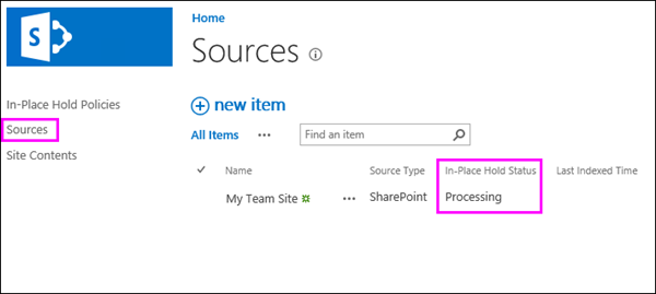 Item in Sources list shows status of Processing