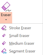PowerPoint for Office 2019 has four erasers for digital ink.