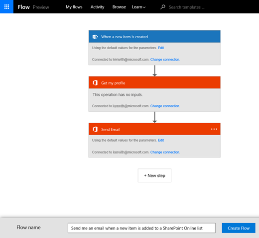 Follow the instructions on the MS Flow site to connect the flow to your SharePoint list.