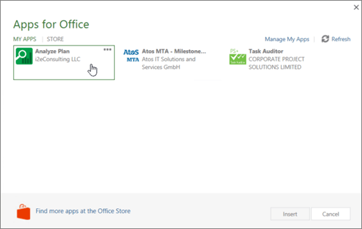 Screenshot of the Apps fpr Office page in the My Apps section where you can access and manage your Project apps.