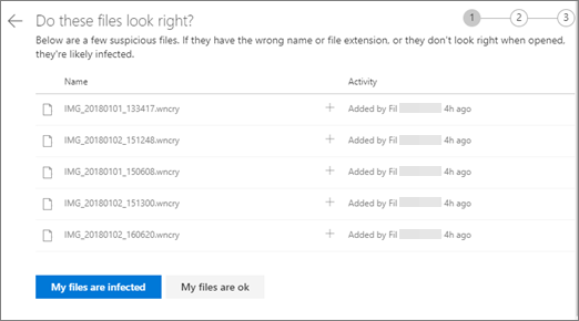 Screenshot of the Do these files look right screen on the OneDrive website
