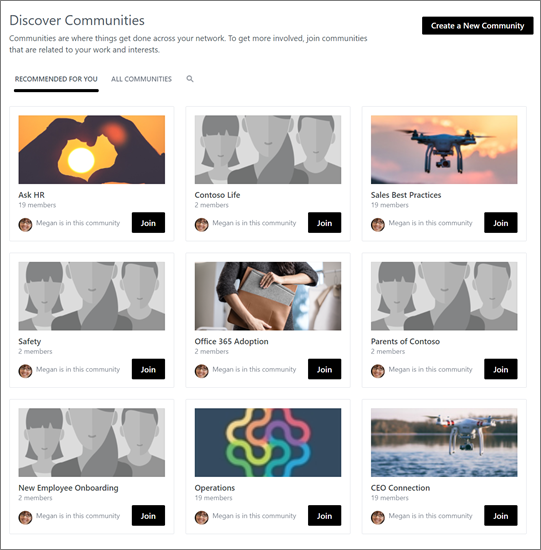 Yammer - Discovering other communities