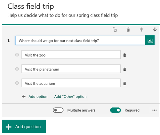 A form choice question displayed with options.
