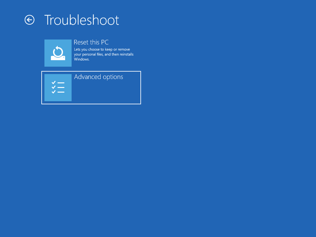 """Shows the """"Troubleshoot"""" screen, with """"Advanced options"""" selected."""