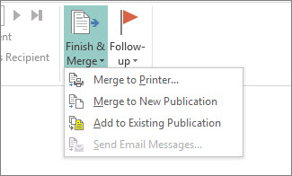 Mailings Finish & Merge button