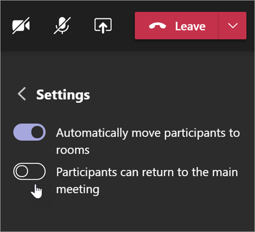 Breakout rooms settings in Teams