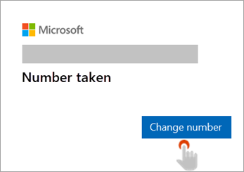 Screenshot of hand selecting Change number button