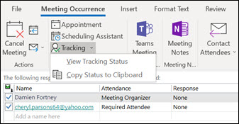 You can print a list of meeting attendees and their response status.