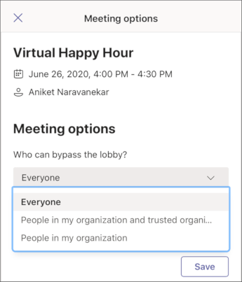 Meeting options - mobile screenshot