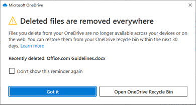 Notification for deleted files from OneDrive.