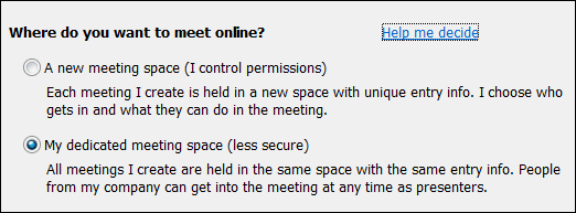 Screen shot of meeting options where do you want to meet
