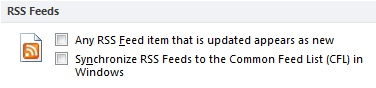 Synchronize RSS Feeds to the Common Feed List check box