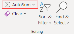 Excel for the Web AutoSum