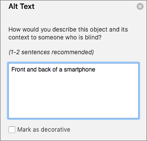 Excel 365 Write Alt Text dialog for images