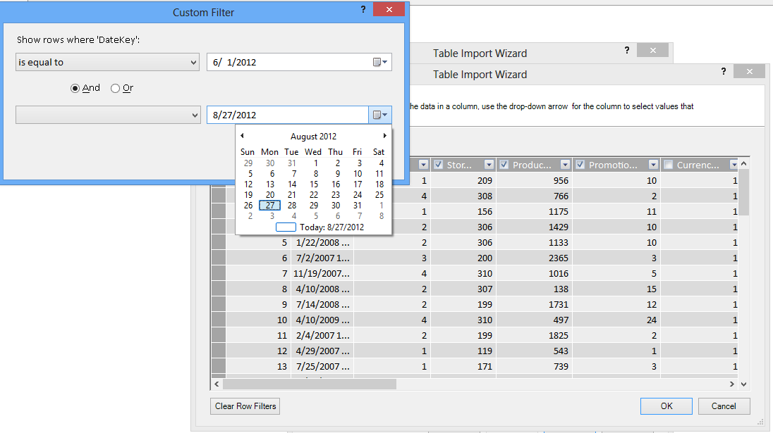 Filter pane in the Table Import wizard