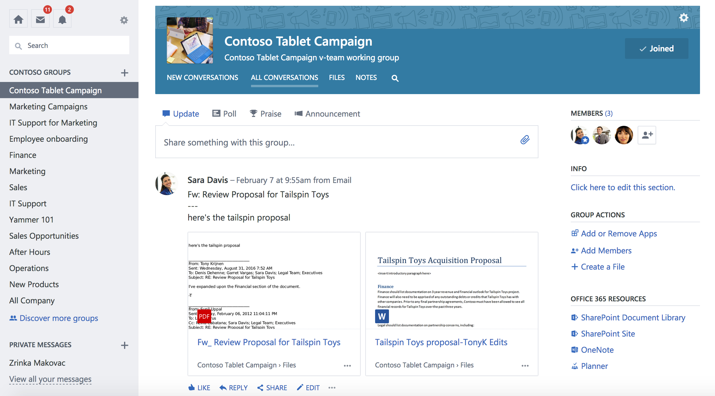 Screenshot of Office 365 connected Yammer group conversations