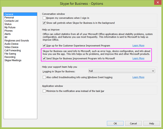 Skype for Business data collection checkbox in the Options > General dialog