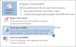 Check Accessibility command in Word 2013