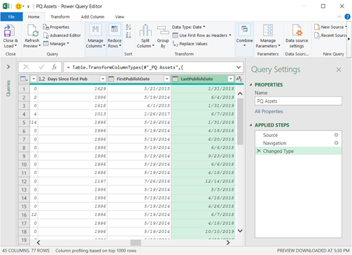 Power Query Editor displaying results