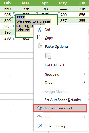 Format a comment by selecting the text to format, then right-click and select Format Comment.