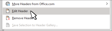Edit header selected on Header dialog