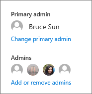 Change the primary admin or add or remove other admins in the details pane