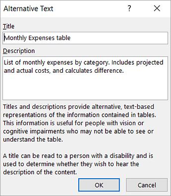 Screenshot of the Alternative Text dialog box