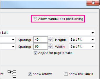 "Click ""Allow manual box positioning"" to manually reposition a task."