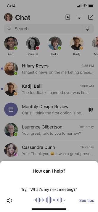 Screenshot of invoking Cortana in Teams mobile