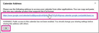 google calendar - calendar address box