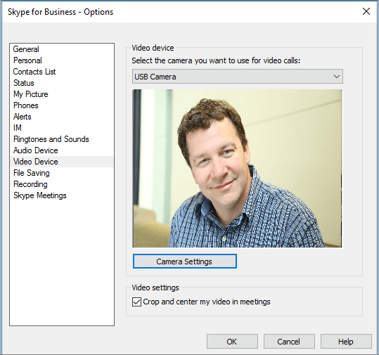 Screenshot of the Video Devices page of the Skype for Business Options dialog box.