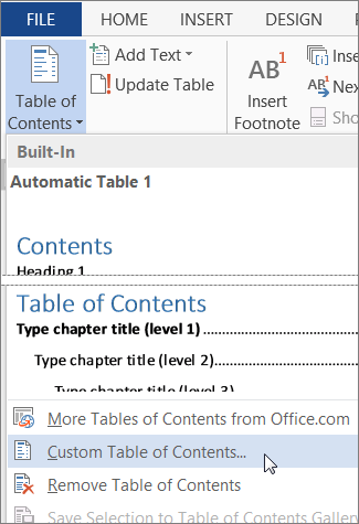 how to add entries to table of contents in word 2