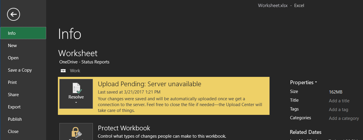 Upload Pending: Server unavailable
