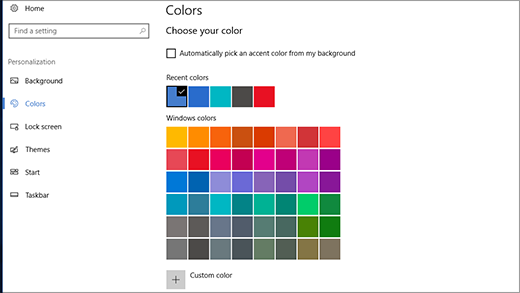 Accent colors in personalization settings