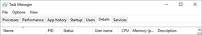 Screen shot of the Details tab on Task Manager