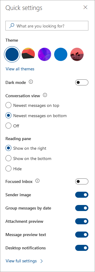 A screenshot of the Quick Settings pane