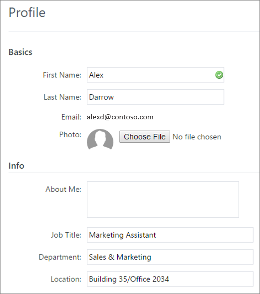 Screenshot of editing a Yammer user's profile